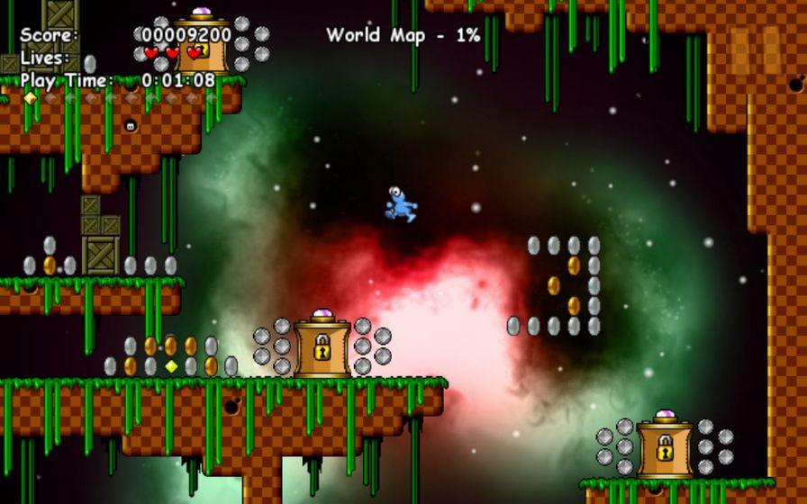 《基因Gene》中,玩家将扮演一个外星人基因,他因为飞行器发生了故障,而迫降在了一个异星球,现在他必须收集金币以及飞船零件,来重新修复自己的飞船。 游戏封面上的哪个基因看起来还蛮可爱的,进入游戏之后发现效果差了好多,不过还是能够将就一下。   《基因Gene》是RabbyC制作发行的一款益智冒险游戏,游戏中玩家控制一些小青蛙进行冒险之旅,通过基因突变,可以改变肤色和获得对应的不同能力,从而通过一个个关卡。