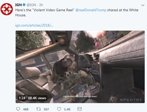 特朗普白宫分享暴力游戏演示 辐射4 使命召唤6在列