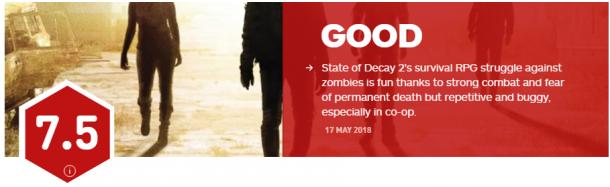 《腐烂国度2》IGN 7.5分 永久死亡让玩家恐惧