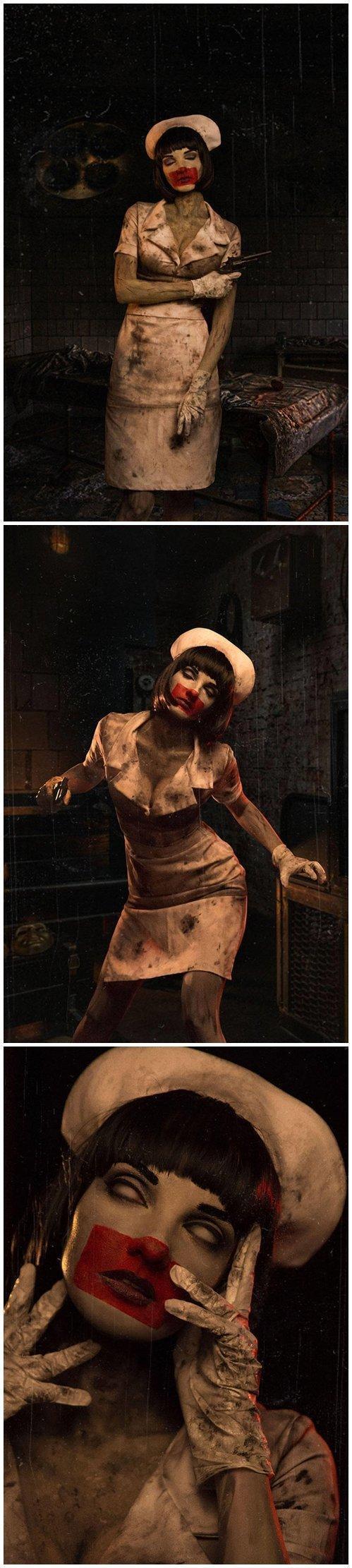 《寂静岭》女护士Cos美图欣赏 面目狰狞身材性感!