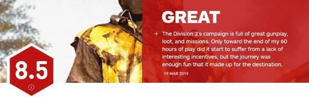 《全境封锁2》IGN终评8.5分 各大媒体评价还算理想