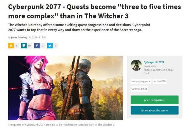 《赛博朋克2077》任务复杂度将是《巫师3》的5倍