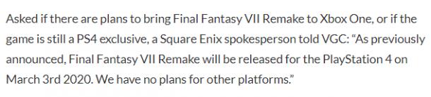 SE官方确认《最终幻想7:重制版》PS4独占 无登陆其他平台计划