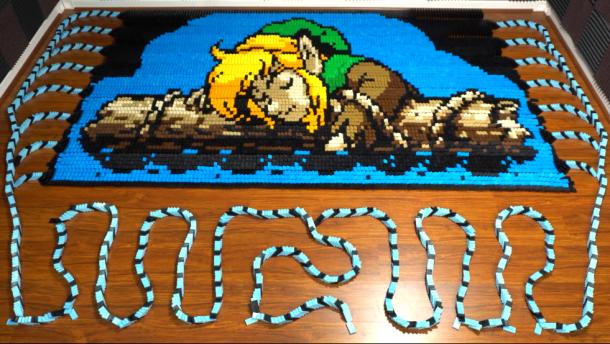 《塞尔达传说:织梦岛》超大多米诺骨牌阵 共用39438块