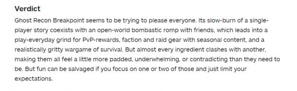 《幽灵行动:断点》IGN终评6分 缺乏特色的大杂烩