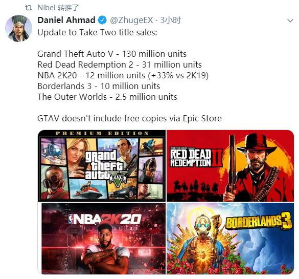 《俠盜獵車手5》《荒野大鏢客2》等遊戲 銷量數據詳情