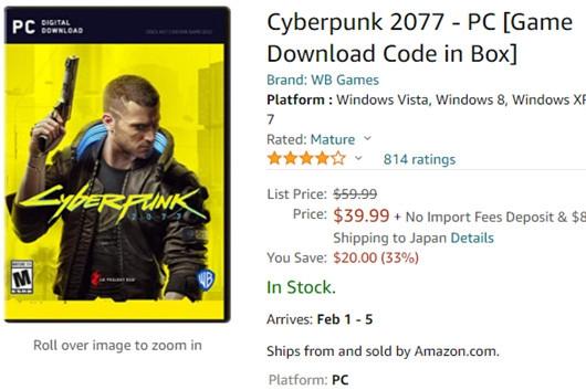 《赛博朋克2077》已在国外商城进行半价促销