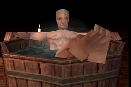 玩家自制PS1版《巫师3》杰洛特沐浴场景