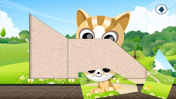 可爱的卡通动物,不同难度的拼图模式选择